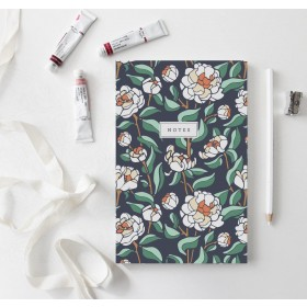 Coral Charm Peony Notebook // Hand-Illustrated Botanical Journal