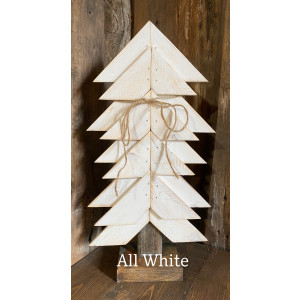 Wood Christmas Tree: White