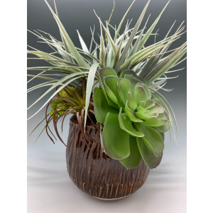 Home Decor, Decoration, Housewarming, Gift, Faux Succulent Medium Arrangement in a Brown Carved and Wheel Thrown Porcelain Pot