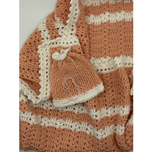 Coral and White Baby Blanket