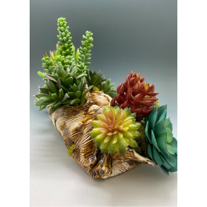 Home Decor, Decoration, Housewarming, Gift, Faux Succulent Large Arrangement in Hand-built Ceramic Log