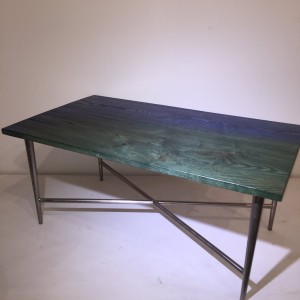 Table - Blue/Green Fade Ash Top w/Silver Metal Base
