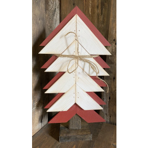 Wood Christmas Tree: Red & White