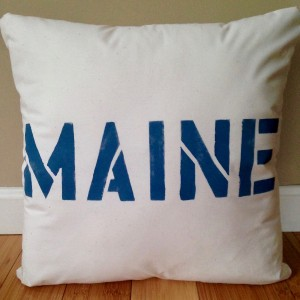 """Printed Nautical Pillow – """"MAINE""""/Throw Pillow (COVER ONLY)"""