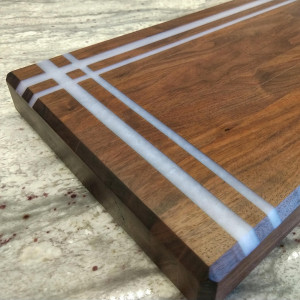 Wood Cutting Board with Epoxy Accent - Walnut Wood - Walnut Cutting Board - Edge Grain