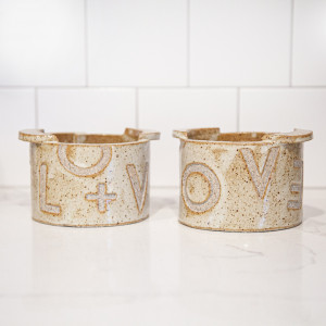 "Handmade stoneware ""Love is Love"" bowl with finger lifts, white speckled pottery bowl for everyday use"