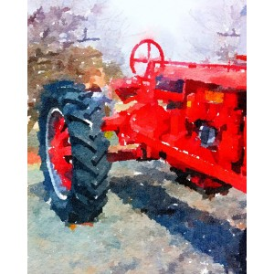 Old Red Tractor 11x14 Watercolor Print