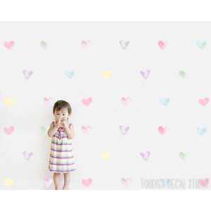 Pastel hearts fabric wall decals