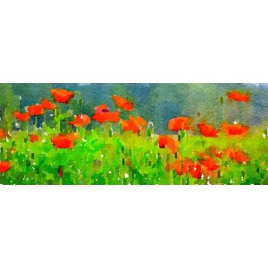 Red Poppies with Forest Backdrop 14x11 Watercolor Print