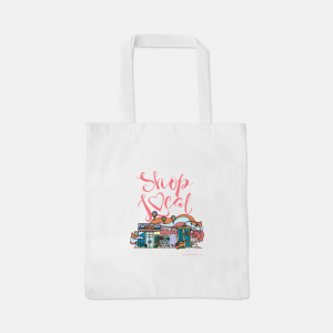 Eco-Friendly Shop Local Tote - Handmade Illustration