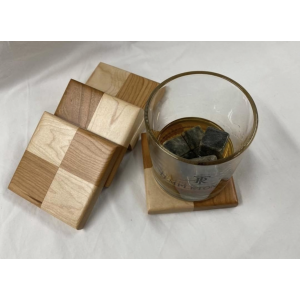 Checkered Coasters-Maple and Cherry