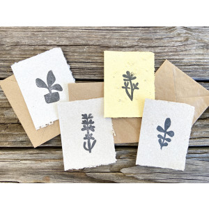 Set of 4 Simple Flowers on Seed Paper Cards