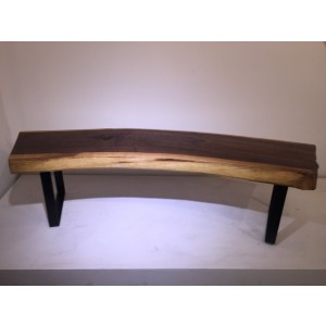 Walnut Slab Bench w/Metal Strap Legs
