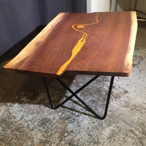 Table - Walnut Top w/Golden River & Bow Tie Steel Legs