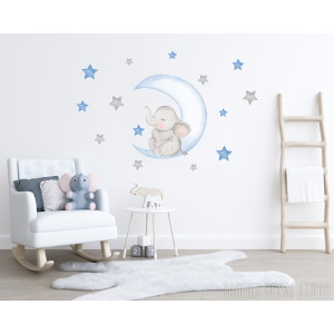 Blue moon elephant fabric wall decal