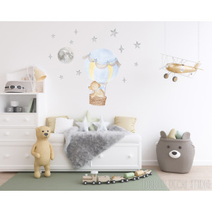 watercolor BEAR fabric wall decal