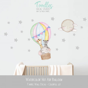 rainbow HOT AIR BALLOON fabric wall decal