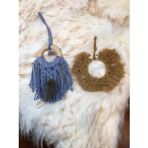 Hand Dyed Slate & Camel Macrame Ornament Pair