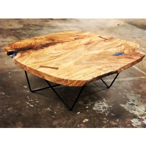 Table - Maple Top w/Blue Waterfall - Metal Base