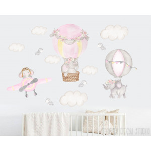 girls ELEPHANT fabric wall decals