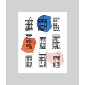 Washington DC Row House Icons Color Print