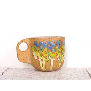 Cornflower and Chartreuse Ceramic Mug- Sloped Handle